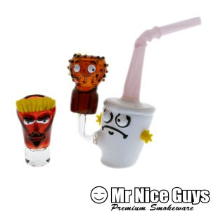 AQUA TEEN HUNGER FORCE OIL RIG WITH FEMALE FLOWER SLIDE BY 13 GLASS -0