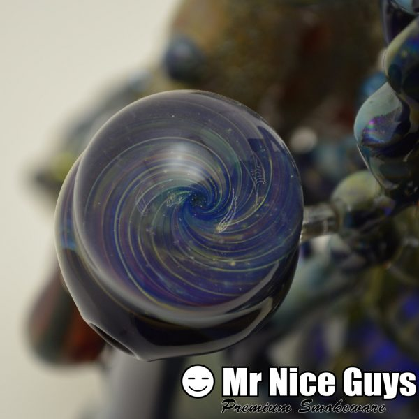 CUSTOM GALACTIC ODYSSEY BUBBLER WITH WIG-WAGS AND A MARBLE-17030