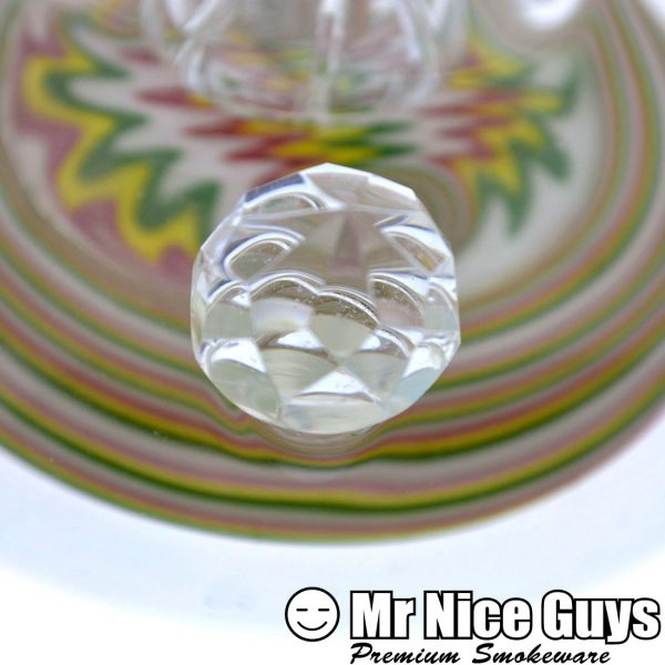 WHITE RASTA REVERSAL SHOWERHEAD WATERPIPE WITH FACETED MARBLE BY UNBROKEN GLASS -16327