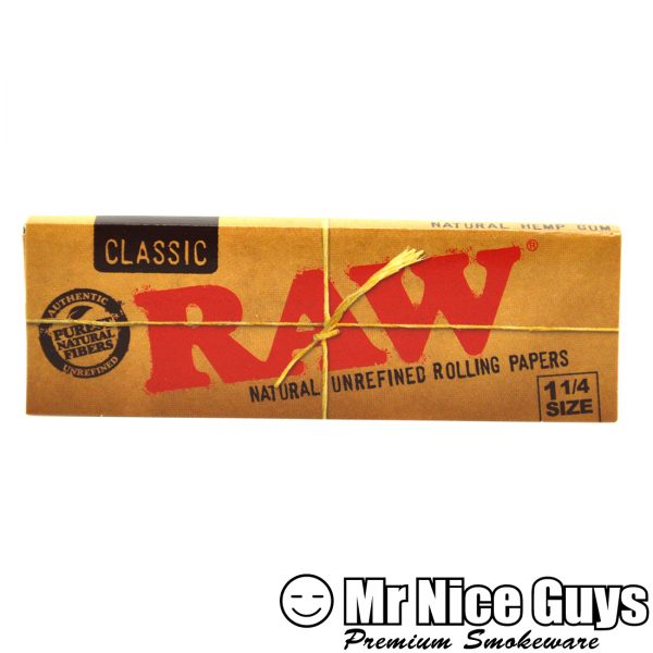 RAW 1-1/4 SIZE CLASSIC NATURAL UNREFINED ROLLING PAPERS-0