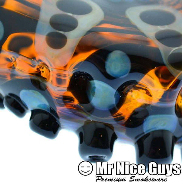 ABSTRACT SPIKE TENTACLE HONEYCOMB CHILLUM BY NEAL THOMPSON-15462