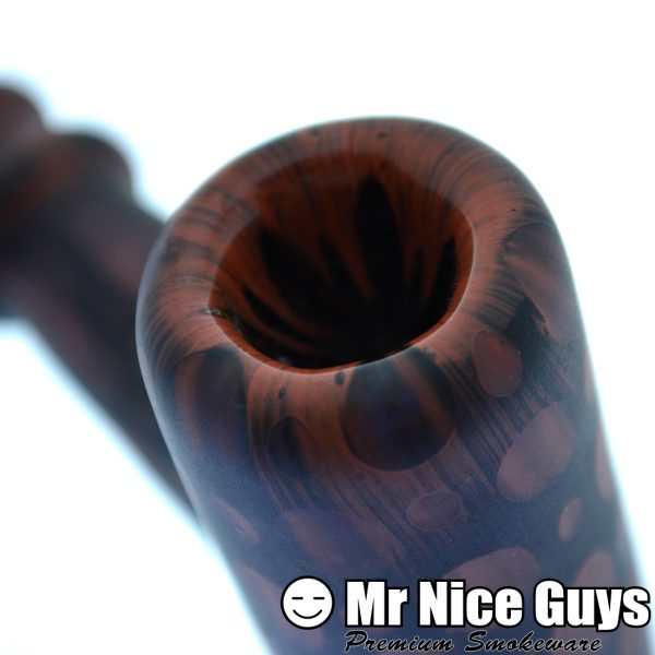 BROWN-RED BUBBLE SANDBLASTED HAMMER BY NO STRESS GLASS-13539