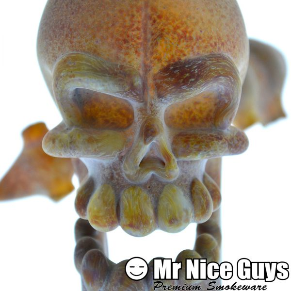 CUSTOM SANDBLASTED SKULL AND SPINE PIPE BY JEFF SMART -14829