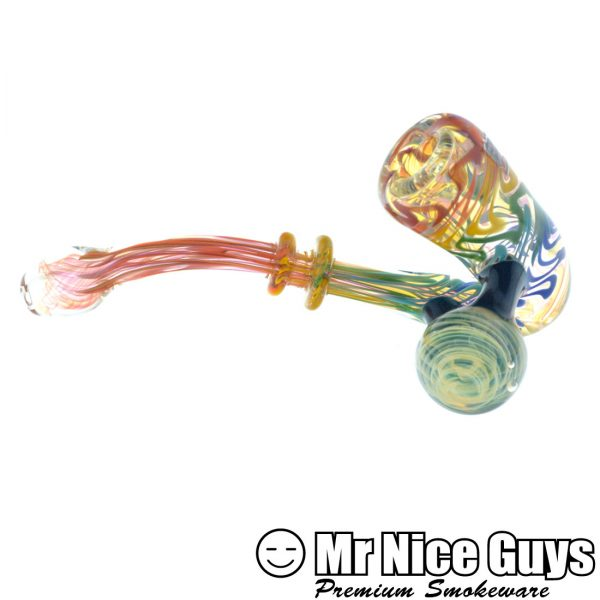 RAINBOW INSIDE OUT FUMED MARIA SHERLOCK WITH VORTEX MARBLE BY PYRO STYLES-13169